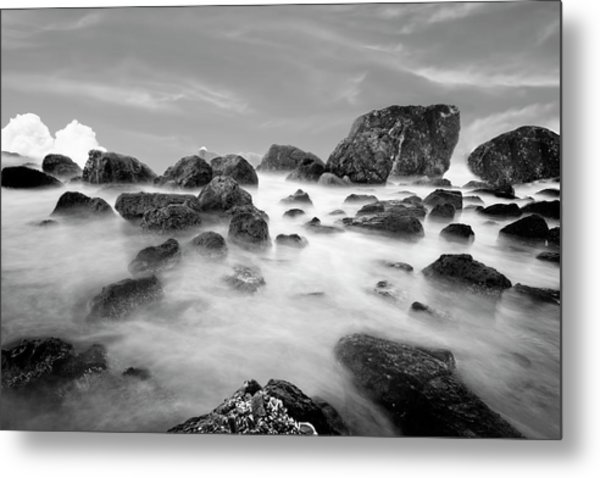 Indian Beach, Ecola State Park, Oregon, In Black And White Metal Print