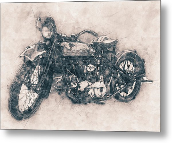 Indian Chief - 1922 - Vintage Motorcycle Poster - Automotive Art Metal Print