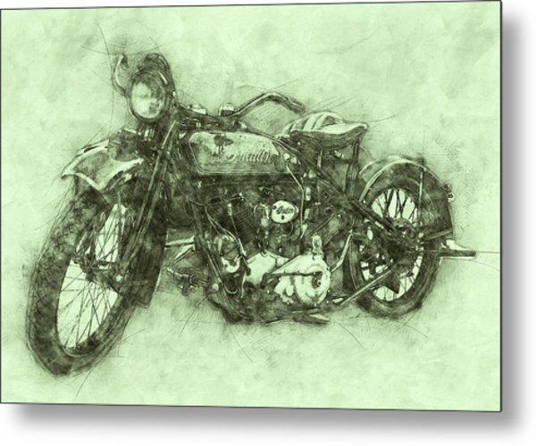 Indian Chief 3 - 1922 - Vintage Motorcycle Poster - Automotive Art Metal Print