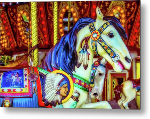 Indian Chief Carrousel Horse Metal Print