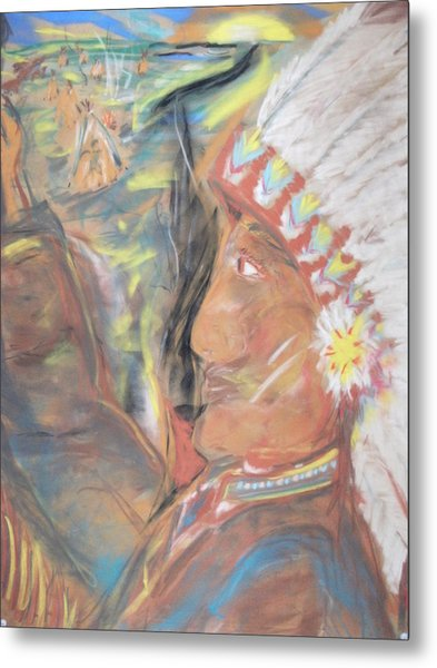 Indian Chief On French Velvet Metal Print by Bob Smith