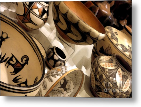 Indian Pottery Metal Print by Linda  Parker