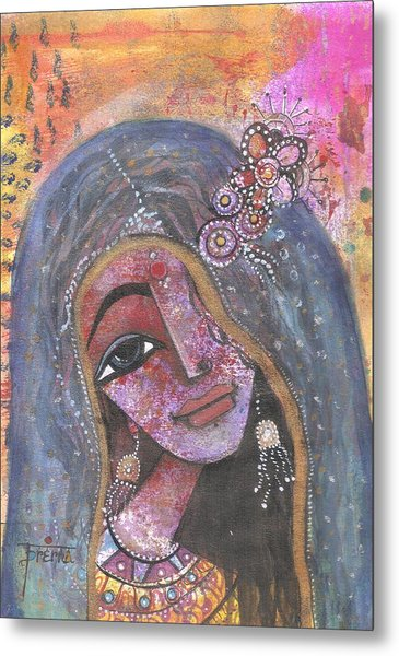 Metal Print featuring the mixed media Indian Rajasthani Woman With Colorful Background  by Prerna Poojara