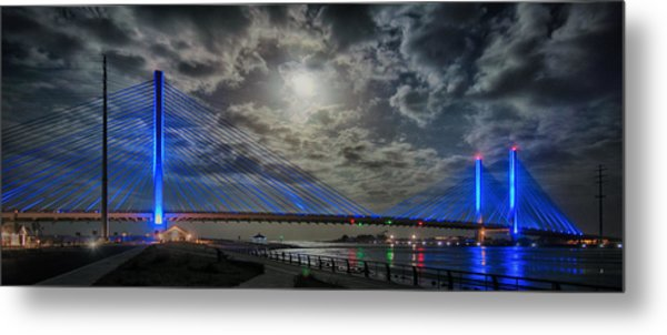 Indian River Bridge Moonlight Panorama Metal Print