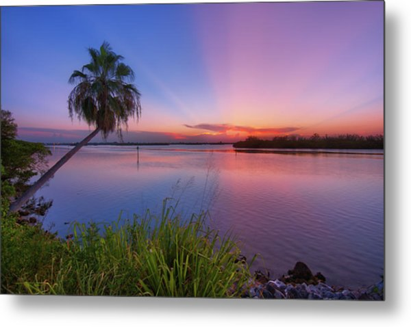Indian River State Park Bursting Sunset Metal Print