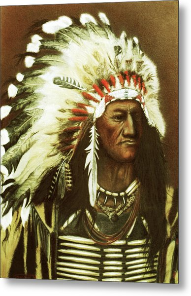 Indian With Headdress Metal Print by Martin Howard