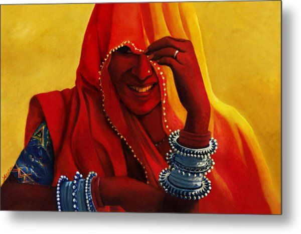 Indian Woman In Veil Metal Print by Arti Chauhan