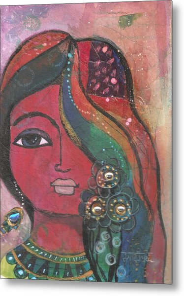 Metal Print featuring the mixed media Indian Woman With Flowers  by Prerna Poojara