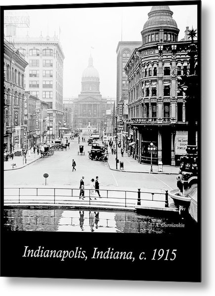 Indianapolis, Indiana, Downtown Area, C. 1915, Vintage Photograp Metal Print
