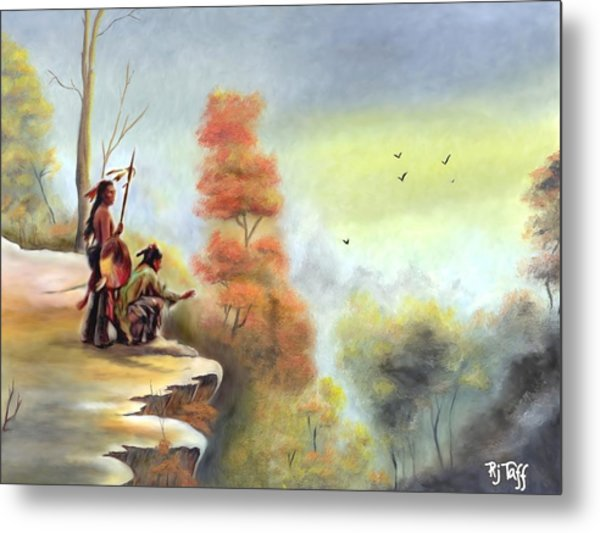 Indians On The Bluff Metal Print