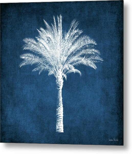 Indigo And White Palm Tree- Art By Linda Woods Metal Print