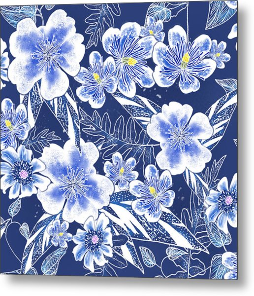 Indigo Batik Tile 1 - Camellia Metal Print