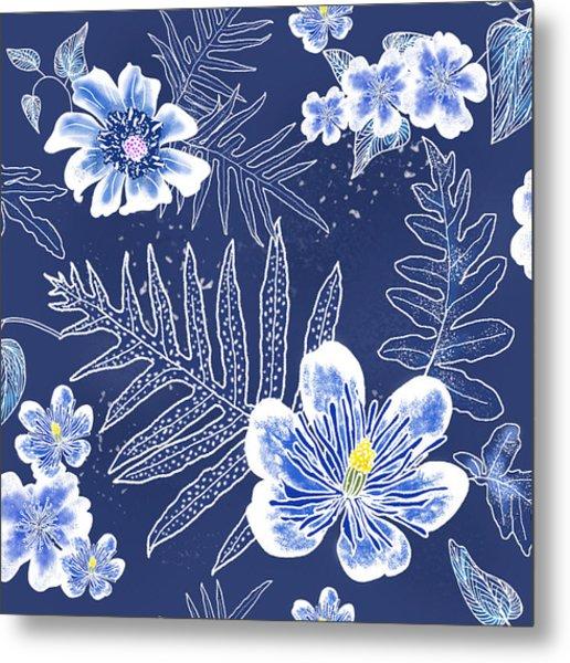 Indigo Batik Tile 3 - Laua'e Metal Print