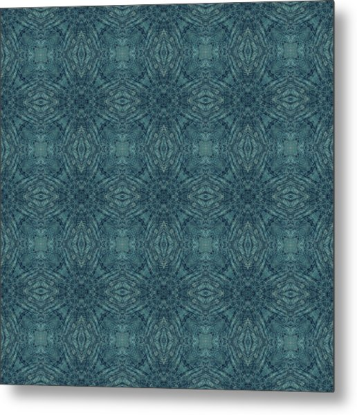Indigo Diamond Cross Pattern 24in Metal Print
