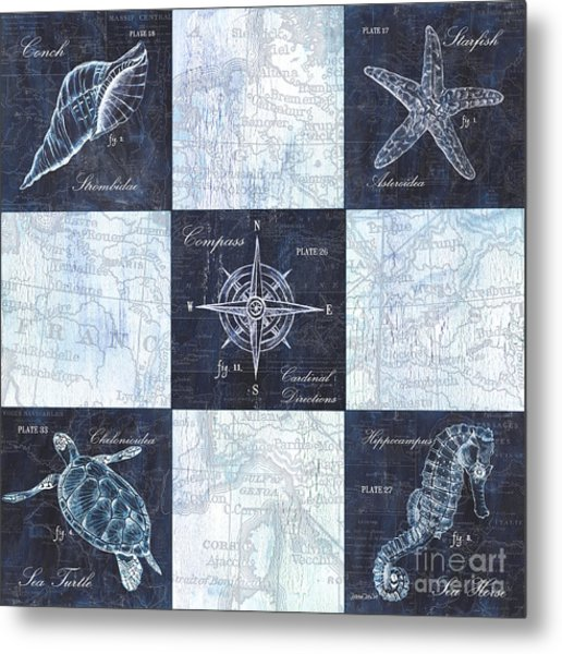 Indigo Nautical Collage Metal Print