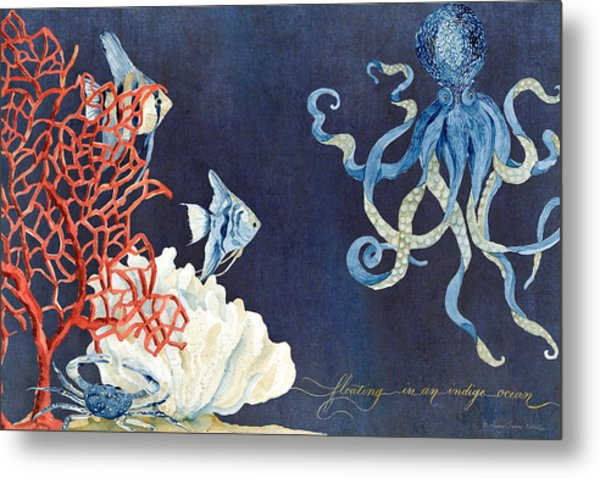 Indigo Ocean - Floating Octopus Metal Print