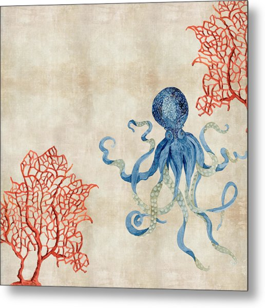 Indigo Ocean - Octopus Floating Amid Red Fan Coral Metal Print