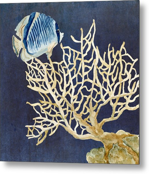 Indigo Ocean - Tan Fan Coral N Angelfish Metal Print