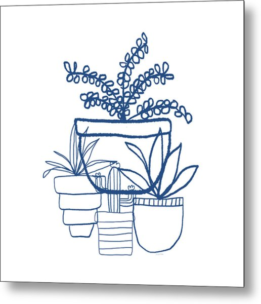 Indigo Potted Succulents- Art By Linda Woods Metal Print
