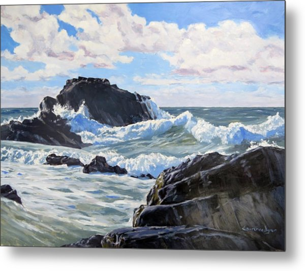 Metal Print featuring the painting Indomitable Rock by Lawrence Dyer
