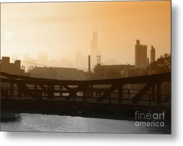 Industrial Foggy Chicago Skyline Metal Print