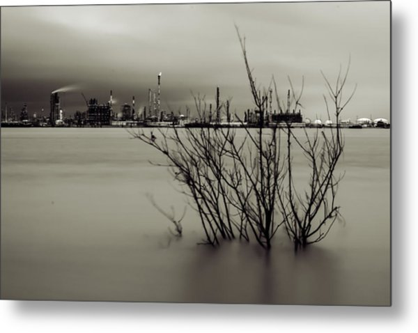 Industry On The Mississippi River, In Monochrome Metal Print