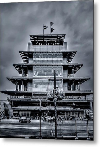 Indy 500 Pagoda - Black And White Metal Print