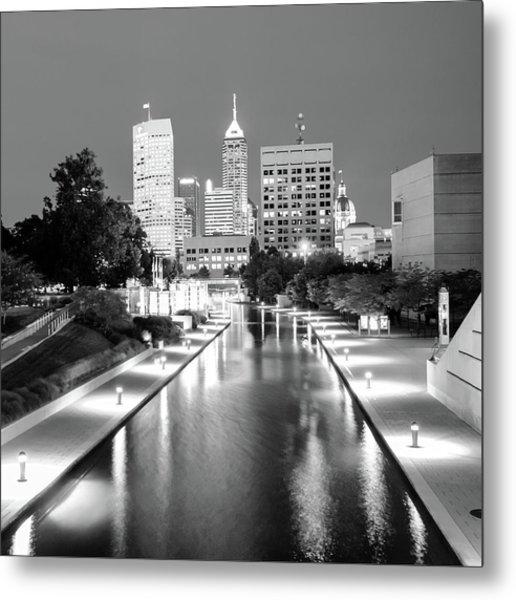 Indy City Skyline - Indianapolis Indiana Black-white 1x1 Metal Print