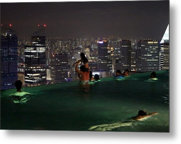 Infinity Pool At Marina Bay Sands Hotel Metal Print