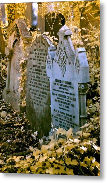 Metal Print featuring the photograph Infrared George Leybourne And Albert Chevalier's Gravestone by Helga Novelli