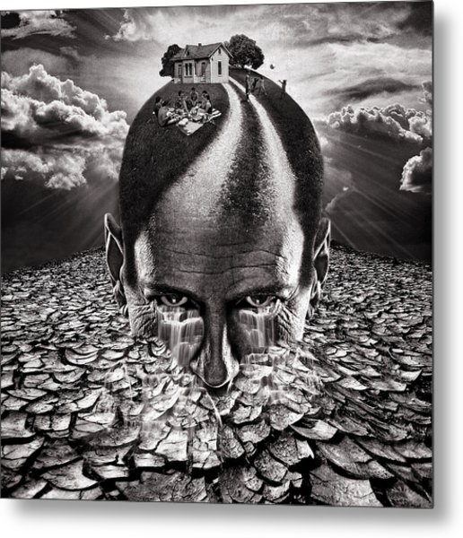 Inhabited Head Gray Scale Metal Print