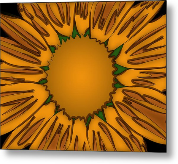 Ink Sunflower Metal Print by Christopher Sprinkle