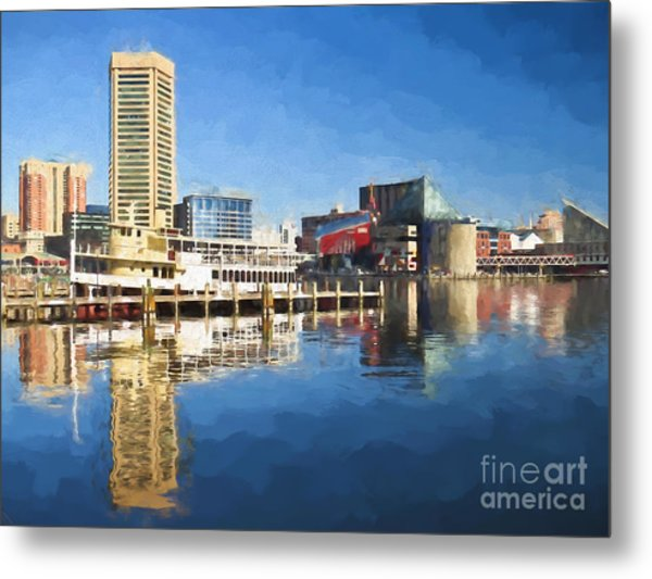 Inner Harbor Reflections  Metal Print