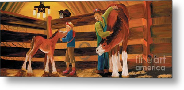 Metal Print featuring the painting Inside The Barn by Donna Hall