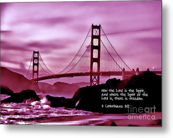 Inspirational - Nightfall At The Golden Gate Metal Print