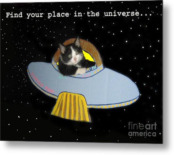 Inspirational Words From Teddy The Ninja Cat Metal Print