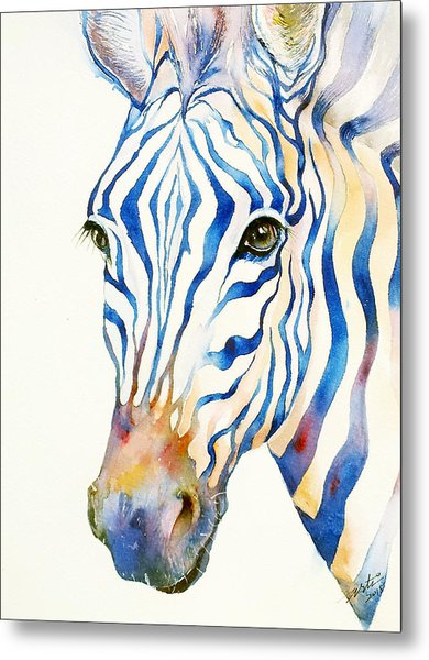 Intense Blue Zebra Metal Print