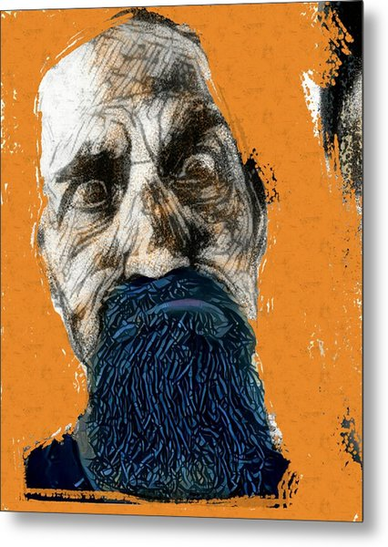 Intense Portrait Bulging Eyes Blue Beard Orange And Sketch Painting Vibrant Vivid Expression Beast Friendly Metal Print by MendyZ