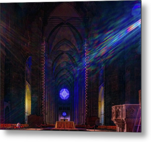 Metal Print featuring the photograph Interior Looking Rearwards, Cathedral Of St. John The Divine by Chris Lord