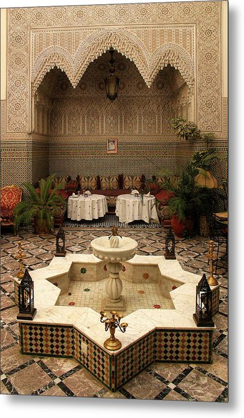 Interior Of A Traditional Riad In Fez Metal Print by PIXELS  XPOSED Ralph A Ledergerber Photography