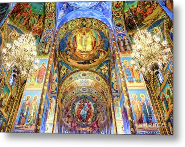 Interior Of The Church Of The Savior On Spilled Blood Metal Print