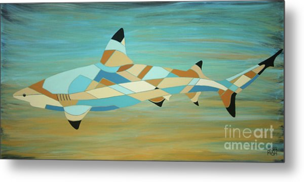 Into The Blue I Shark Painting Metal Print