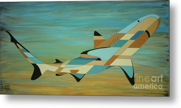 Into The Blue Shark Painting Metal Print