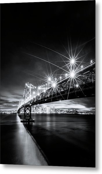 Into The City, Black And White Metal Print by Vincent James