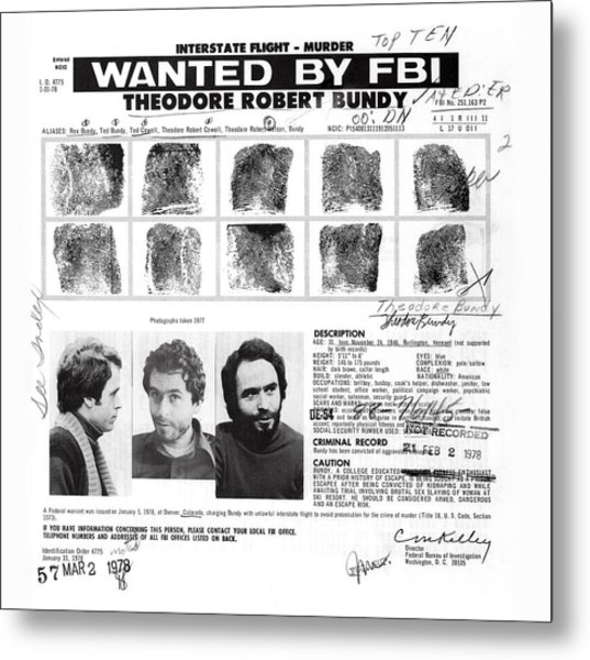 Investigator's Copy - Ted Bundy Wanted Document  1978 Metal Print
