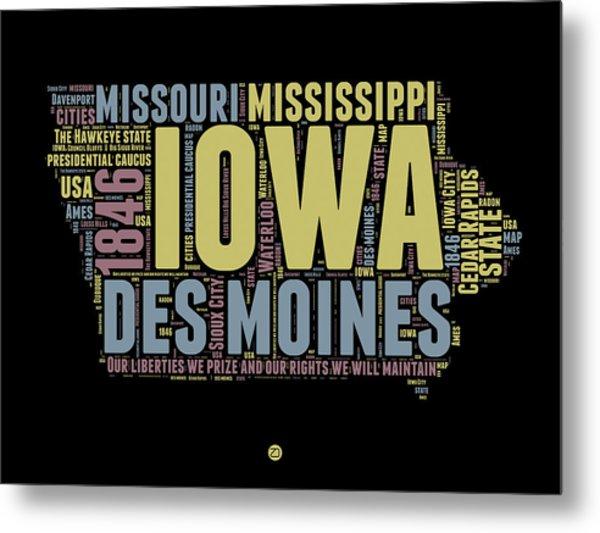 Iowa Word Cloud 1 Metal Print