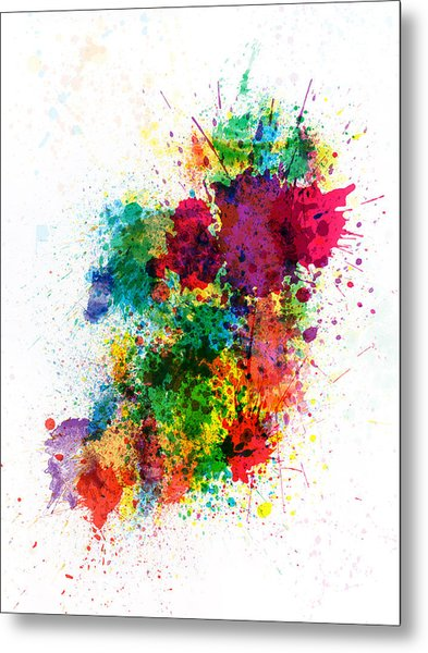 Ireland Map Paint Splashes Metal Print