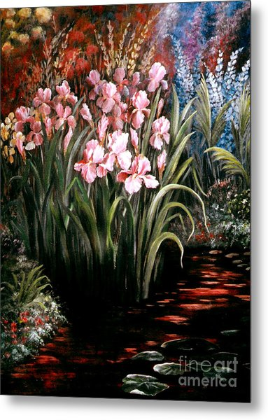 Iris By The Pond Metal Print