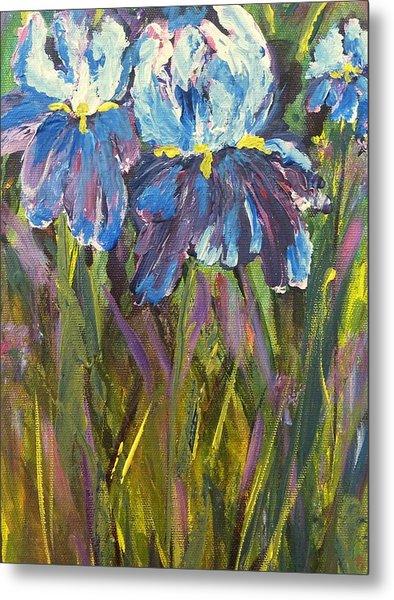 Iris Floral Garden Metal Print