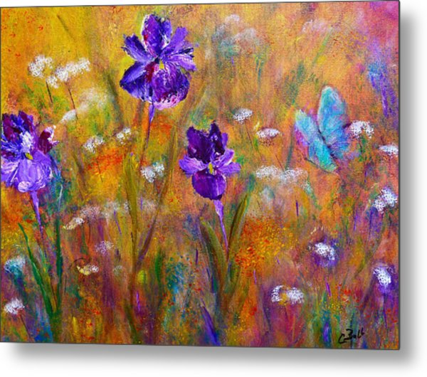 Iris Wildflowers And Butterfly Metal Print